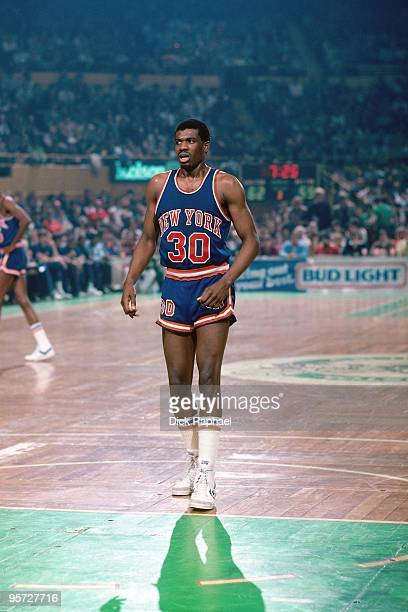Bernard King of the New York Knicks stands against the Boston Celtics during a game played in 1984 at the Boston Garden in Boston Massachusetts NOTE...
