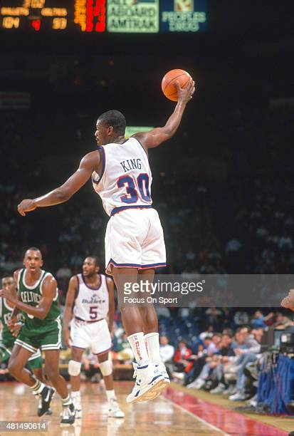 Bernard King of the Washington Bullets in action against the Boston Celtics during an NBA basketball game circa 1991 at the Capital Centre in...