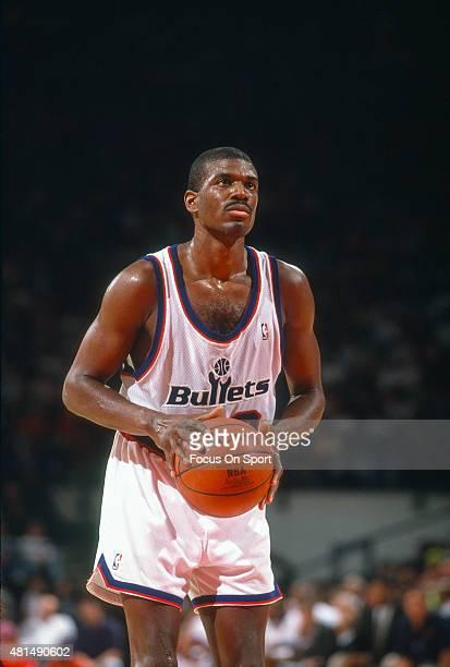 Bernard King of the Washington Bullets looks to shoot a free throw during an NBA basketball game circa 1991 at the Capital Centre in Landover...