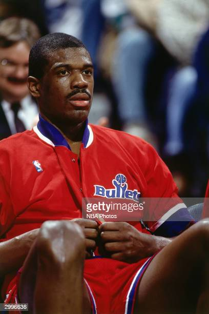 Bernard King # of the Washington Bullets sits on the bench during the game against the Milwaukee Bucks circa 1991 at the Bradley Center in Milwaukee...