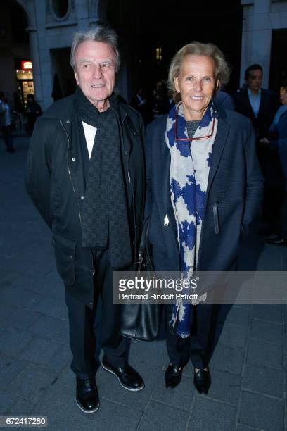 Bernard Kouchner and his wife Christine Ockrent attend 'La Recompense' Theater Play at Theatre Edouard VII on April 24 2017 in Paris France