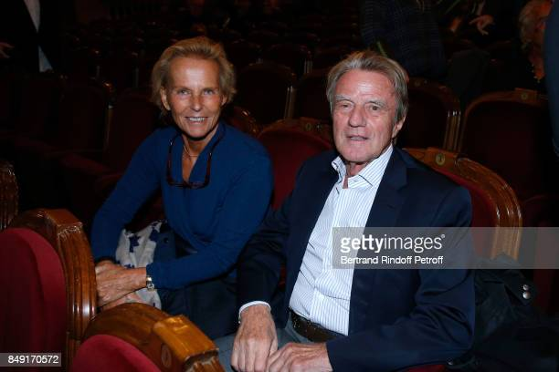 Bernard Kouchner and his wife Christine Ockrent attend 'La vraie vie' Theater Play at Theatre Edouard VII on September 18 2017 in Paris France