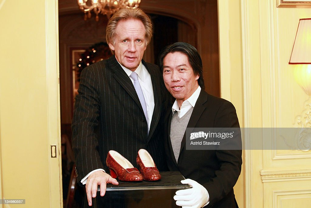 Bernard Lackner, General Manager of Plaza Athenee and Fong Sam, General Manager of Profiles in History attend a viewing of 'The Wizard of Oz' Ruby Red Slippers worn by Judy Garland in 1939 at the Plaza Athenee on December 5, 2011 in New York City. 'The Wizard of Oz' Ruby Red slippers are a women's size 5 and appraised at $3 million dollars.