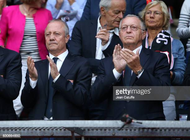 Bernard Lacombe and President of Lyon JeanMichel Aulas during the French Ligue 1 match between Stade Rennais and Olympique Lyonnais at Roazhon Park...