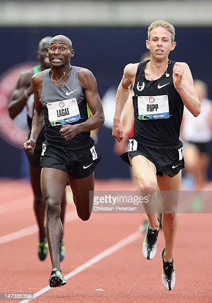 Bernard Lagat and Galen Rupp compete in the Men's 5000 Meter Run on day seven of the US Olympic Track Field Team Trials at the Hayward Field on June...