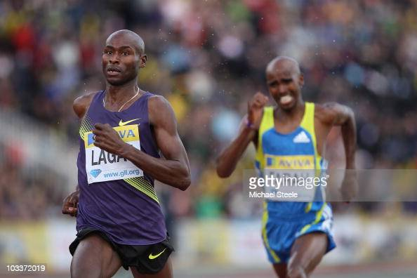 Bernard Lagat of USA wins the men's 3000m from Mo Farah of Great Britain during the Aviva London Grand Prix meeting at Crystal Palace on August 13...