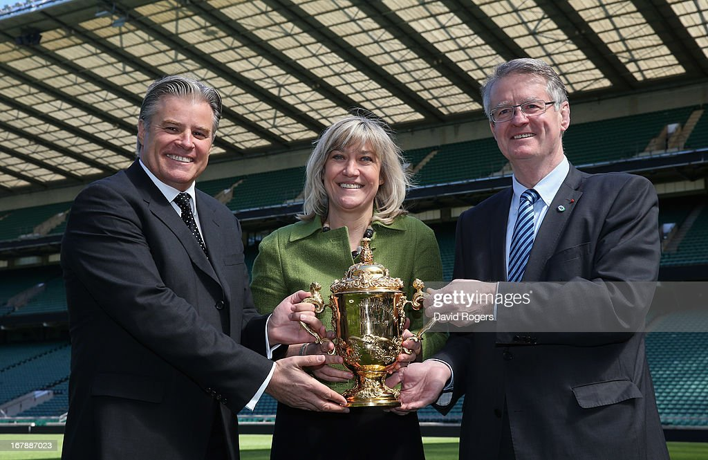 Bernard Lapasset, (R) RWCL Chairman, holds the Webb Ellis Cup with Debbie Jevans, Chief Executive of England Rugby 2015 and Brett Gosper (L), the IRB Chief Executive during the IRB Rugby World Cup 2015 Schedule Announcement held at Twickenham Stadium on May 2, 2013 in London, England. The 13 Match Venues and Host Cities selected are: Twickenham Stadium (London), Wembley Stadium (London), Olympic Stadium (London), Millennium Stadium (Cardiff), Manchester City Stadium (Manchester), St James' Park (Newcastle), Elland Road (Leeds), Leicester City Stadium (Leicester), Villa Park (Birmingham), Kingsholm Stadium (Gloucester), stadiummk (Milton Keynes), Brighton Community Stadium (Brighton) and Sandy Park (Exeter).