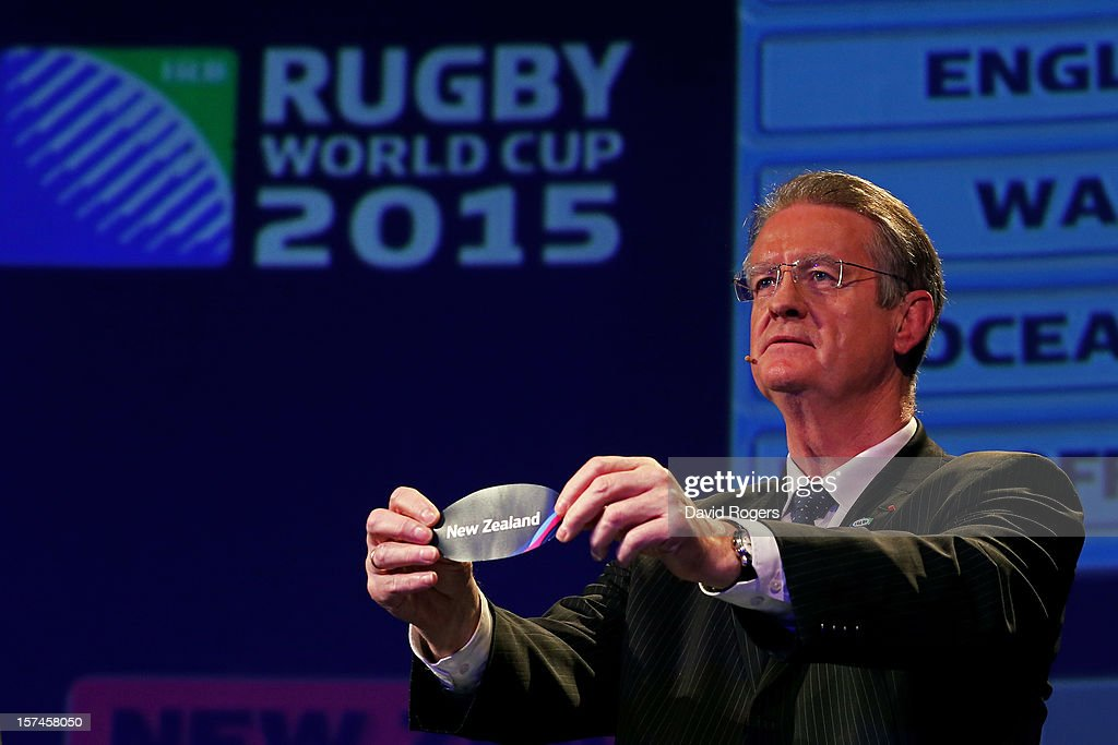 <a gi-track='captionPersonalityLinkClicked' href=/galleries/search?phrase=Bernard+Lapasset&family=editorial&specificpeople=769984 ng-click='$event.stopPropagation()'>Bernard Lapasset</a> the Chairman of Rugby World Cup Ltd draws New Zealand during the IRB Rugby World Cup 2015 pool allocation draw at the Tate Modern on December 3, 2012 in London, England.