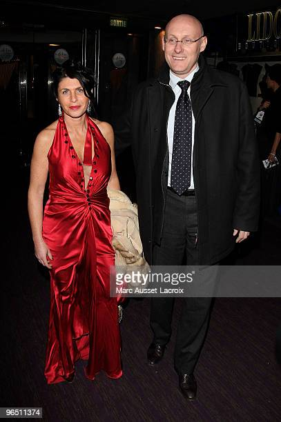 Bernard Laporte and Nadine poses at the Ceremony of Globe de Cristal 2010 Awards at Le Lido on February 8 2010 in Paris France