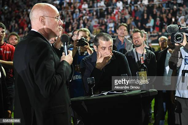 Bernard Laporte Coach of Toulon and Mourad Boudjellal President of Toulon during the rugby Top 14 match between Toulon and Union Begles Bordeaux at...