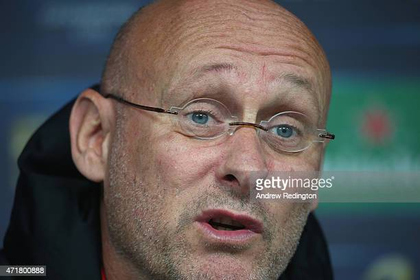 Bernard Laporte coach of Toulon is pictured during the European Rugby Champions Cup Press Conference at Twickenham Stadium on May 1 2015 in London...