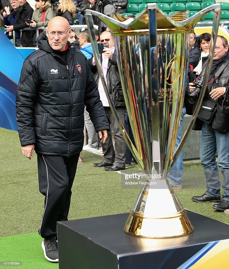 Bernard Laporte, coach of Toulon, is pictured walking past the trophy during the European Rugby Champions Cup Captain's Run at Twickenham Stadium on May 1, 2015 in London, England.