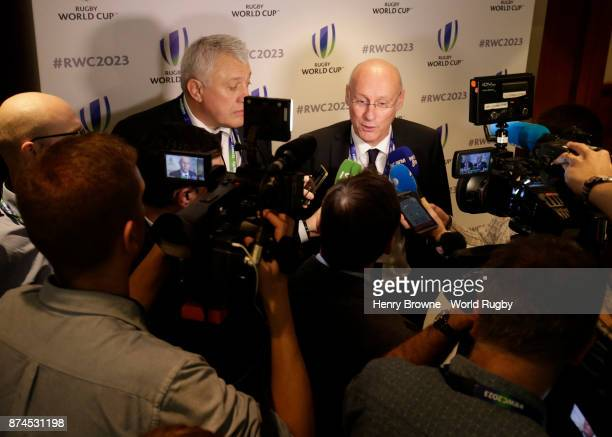 Bernard Laporte of France during the Rugby World Cup 2023 host decision announcement at Royal Garden Hotel on November 15 2017 in London England