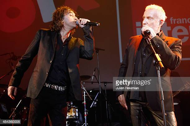 Bernard Lavilliers and Cali perform on stage during the 50th anniversary celebration of french radio France Inter at La Gaite Lyrique on December 8...