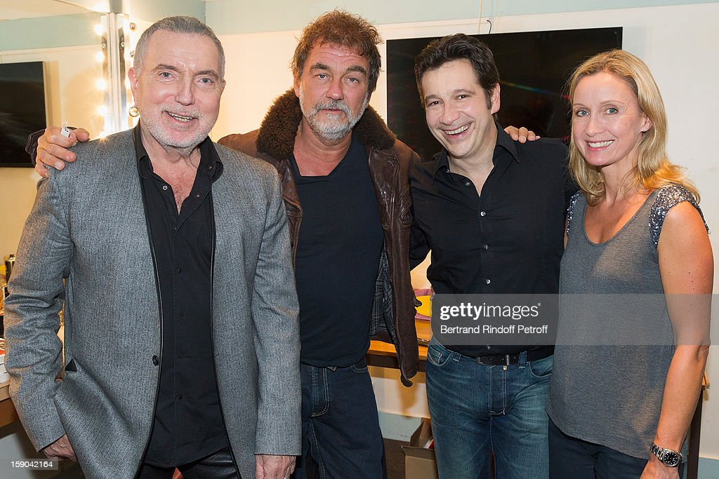 Bernard Lavilliers, Olivier Marchal, French impersonator Laurent Gerra and Marchal's wife Catherine pose in Gerra's dressing room after attending his one man show at Olympia hall on January 4, 2013 in Paris, France.