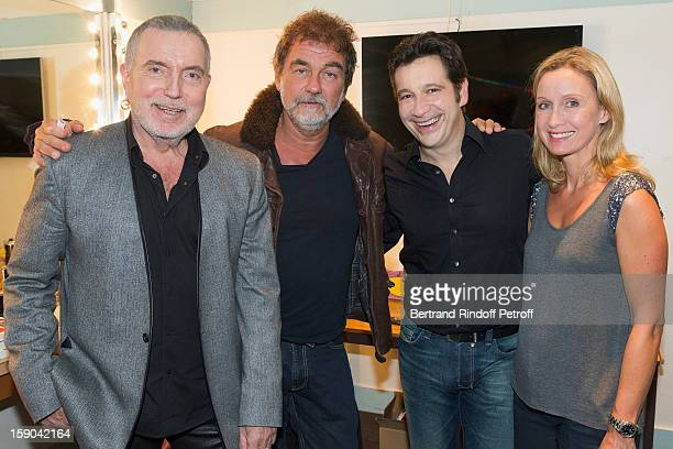 Bernard Lavilliers Olivier Marchal French impersonator Laurent Gerra and Marchal's wife Catherine pose in Gerra's dressing room after attending his...
