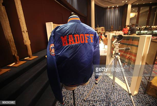 Bernard Madoff New York Mets baseball jacket is displayed during a press preview of a US Marshals Service auction of personal property seized from...