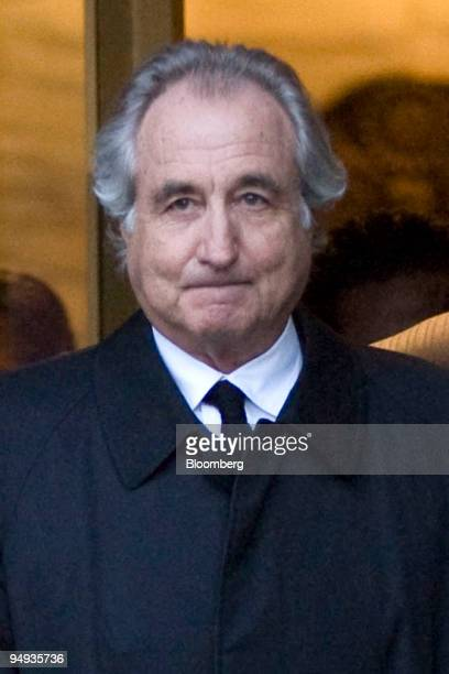 Bernard Madoff president and founder of Bernard L Mandoff Investment Securities LLC walks out of Manhattan federal court in New York US on Monday Jan...