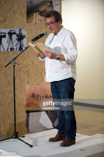 Bernard Marcade reads 'Tombeau pour Cinq Cent Mille Soldats' for 50th anniversary of the book at Azzedine Alaia Gallery on October 19 2017 in Paris...