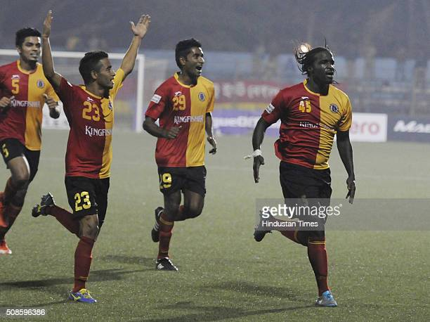Bernard Mendy of East Bengal celebrating his goal with his teammates against Aizawl FC during the I League match at Barasat Stadium on February 5...