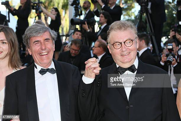 Bernard Menez and Dominique Besnehard attend the 'Inside Out' premiere during the 68th annual Cannes Film Festival on May 18 2015 in Cannes France