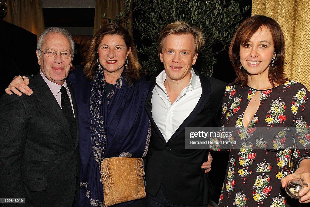 Bernard Murat, his wife Zana, Alex Lutz and Valerie Bonneton attend 'La Petite Maison De Nicole' Inauguration Cocktail at Hotel Fouquet's Barriere on January 21, 2013 in Paris, France.