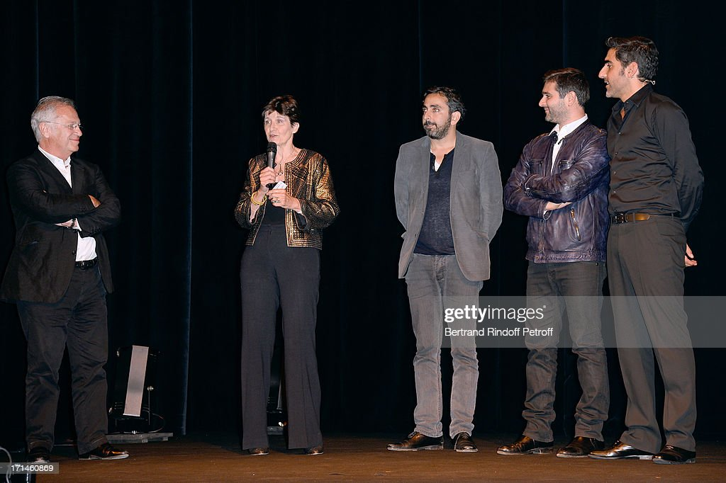 Bernard Murat, president of association 'Un Coeur Pour La Paix' Muriel Haim, Olivier Nakache, Eric Toledano and Ary Abittan on stage after the Ary Abittan performance at Theater Edouard VII benefiting 'Un Coeur Pour La Paix' on June 24, 2013 in Paris, France.