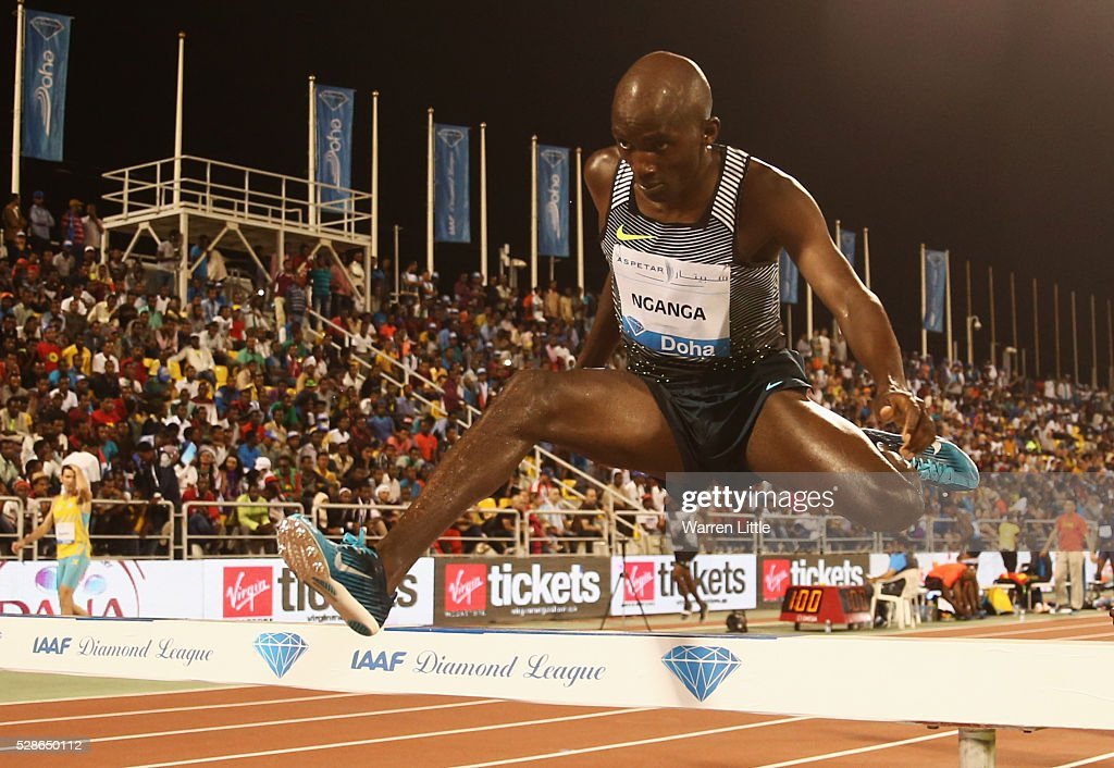 Bernard Nganga of Kenya clears a barrier in the Men's 3000 metres Steeplechase final during the Doha IAAF Diamond League 2016 meeting at Qatar Sports Club on May 6, 2016 in Doha, Qatar.