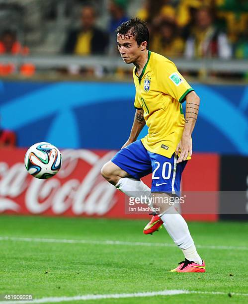 Bernard of Brazil controls the ball during the 2014 FIFA World Cup Brazil Semi Final match between Brazil and Germany at The Estadio Mineirao on July...