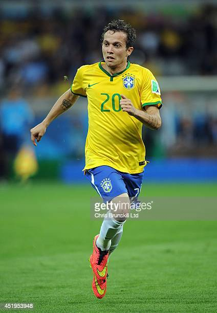 Bernard of Brazil in action during the 2014 FIFA World Cup Brazil Semi Final match between Brazil and Germany at Estadio Mineirao on July 08 2014 in...