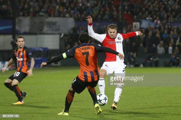 Bernard of FC Shakhtar Donesk Taison of FC Shakhtar Donesk Bart Nieuwkoop of Feyenoord during the UEFA Champions League group F match between...