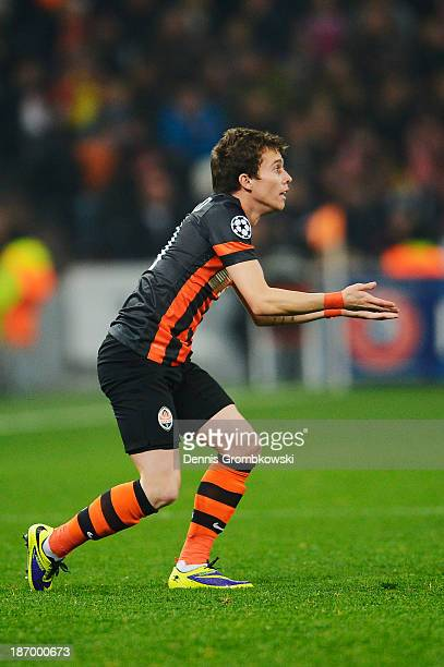 Bernard of Shakhtar Donetsk gestures during the UEFA Champions League Group A match between Shakhtar Donetsk and Bayer Leverkusen at Donbass Arena on...