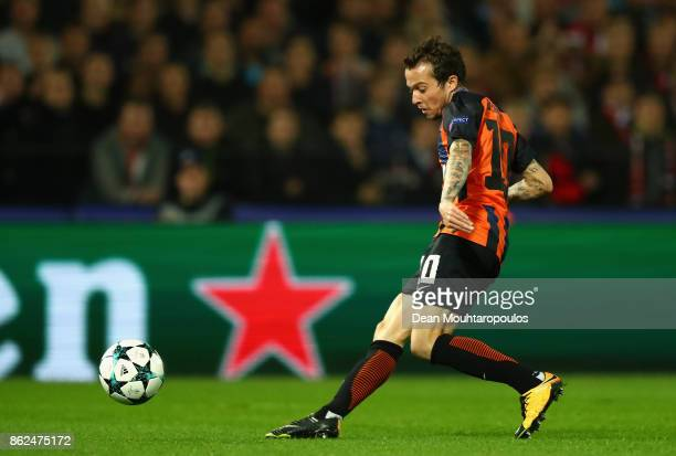 Bernard of Shakhtar Donetsk scores his sides first goal during the UEFA Champions League group F match between Feyenoord and Shakhtar Donetsk at...