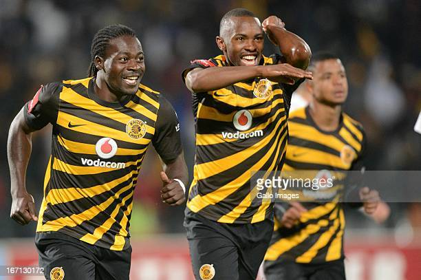 Bernard Parker celebrates the second goal with teammate Kingston Nkhatha of Kaizer Chiefs during the Absa Premiership match between Moroka Swallows...