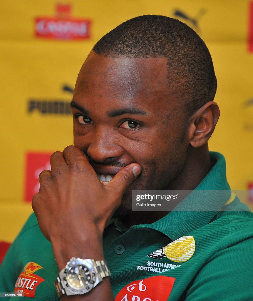 <a gi-track='captionPersonalityLinkClicked' href=/galleries/search?phrase=Bernard+Parker&family=editorial&specificpeople=1003236 ng-click='$event.stopPropagation()'>Bernard Parker</a> during the South African National soccer team interview session at the team hotel on October 08, 2012 in Johannesburg, South Africa. South Africa play Poland in an International Friendly match on October 12.