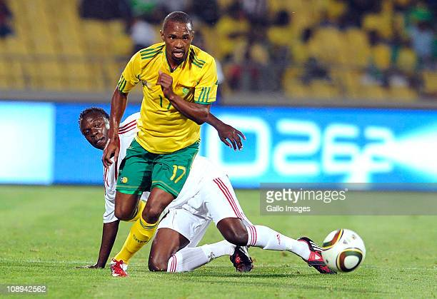 Bernard Parker of Kenya and Kevin Omondi of South Africa compete during the International friendly match between South Africa and Kenya at Royal...