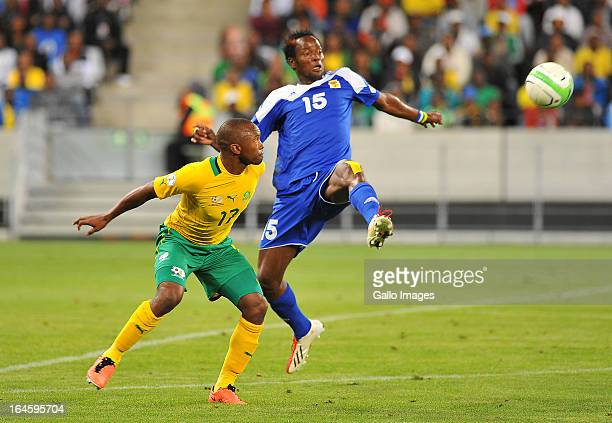Bernard Parker of South Africa and Nicaise Auzingoni Zimbori of Central African Republic in action during the FIFA 2014 World Cup Qualifier match...