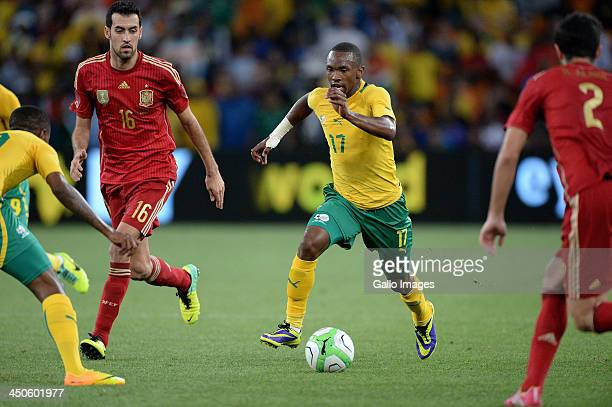 Bernard Parker of South Africa attacks during the International friendly match between South Africa and Spain at Soccer City Stadium on November 19...