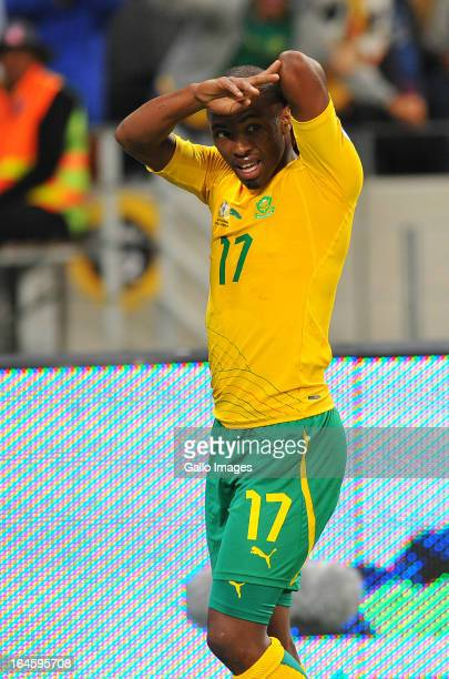 Bernard Parker of South Africa celebrates during the FIFA 2014 World Cup Qualifier match between South Africa and Central African Republic at Cape...