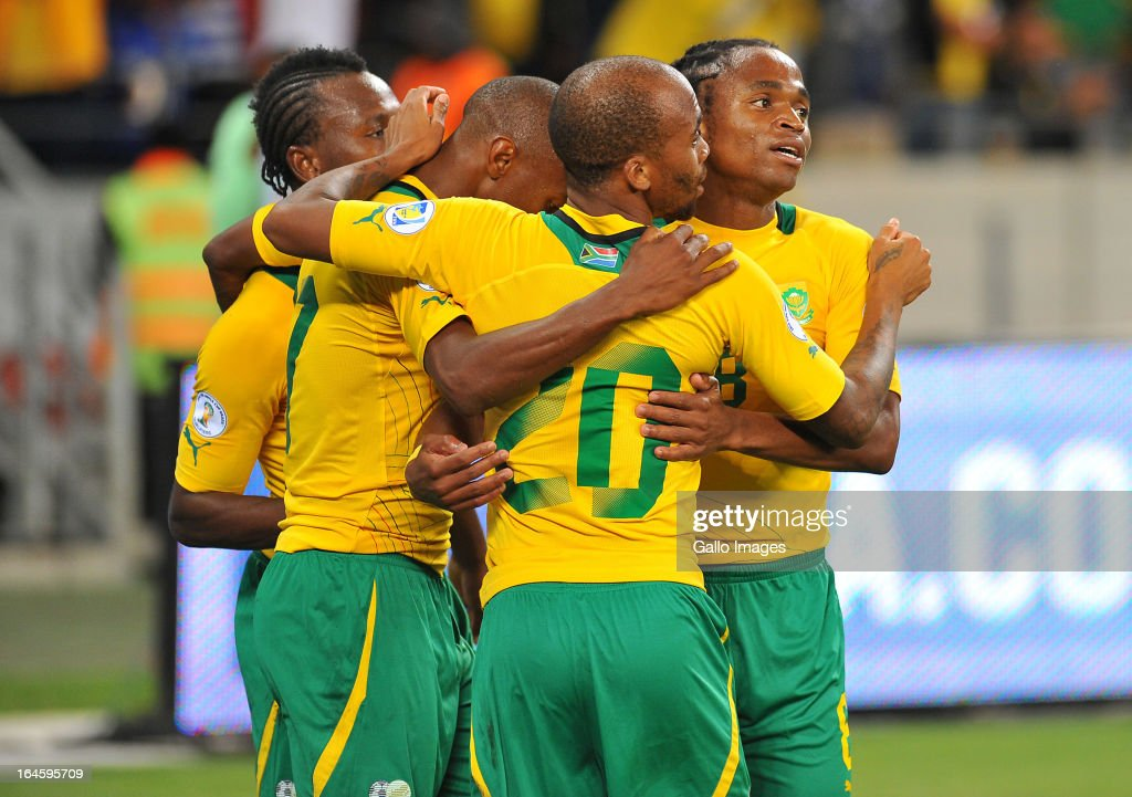 <a gi-track='captionPersonalityLinkClicked' href=/galleries/search?phrase=Bernard+Parker&family=editorial&specificpeople=1003236 ng-click='$event.stopPropagation()'>Bernard Parker</a> of South Africa celebrates during the FIFA 2014 World Cup Qualifier match between South Africa and Central African Republic at Cape Town Stadium on March 23, 2013 in Cape Town, South Africa.