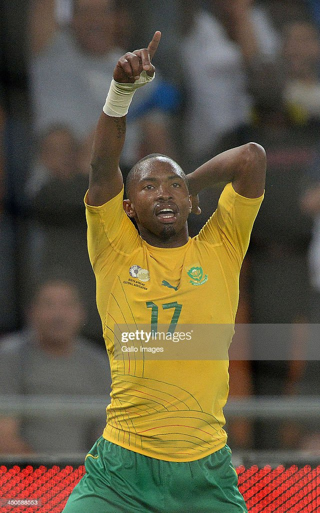 <a gi-track='captionPersonalityLinkClicked' href=/galleries/search?phrase=Bernard+Parker&family=editorial&specificpeople=1003236 ng-click='$event.stopPropagation()'>Bernard Parker</a> of South Africa celebrates his goal during the International friendly match between South Africa and Spain at Soccer City Stadium on November 19, 2013 in Johannesburg, South Africa.