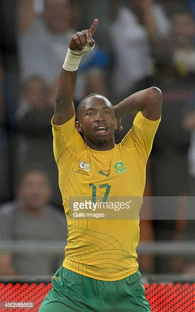 Bernard Parker of South Africa celebrates his goal during the International friendly match between South Africa and Spain at Soccer City Stadium on...