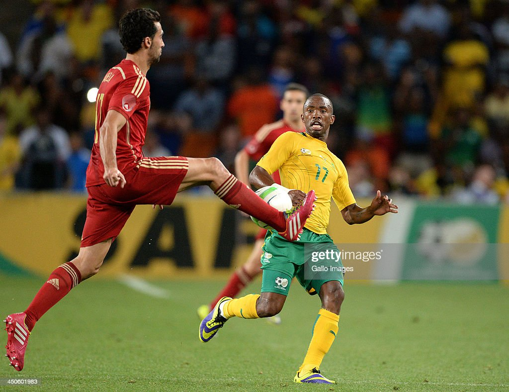 Bernard Parker of South Africa defends during the International friendly match between South Africa and Spain at Soccer City Stadium on November 19, 2013 in Johannesburg, South Africa.