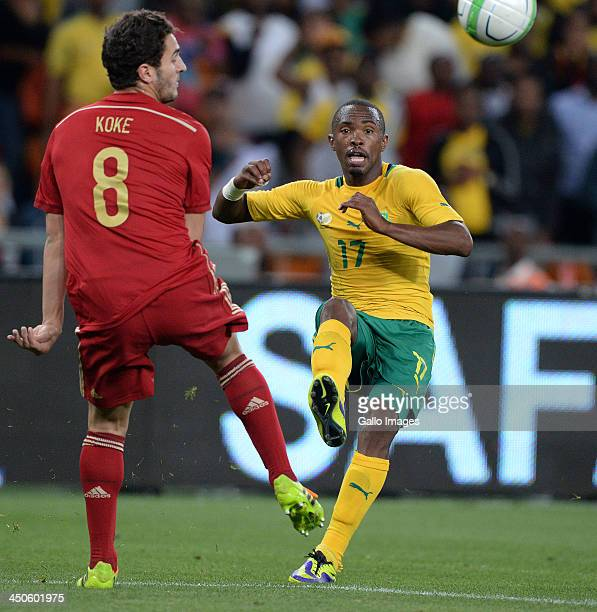 Bernard Parker of South Africa gets his pass away during the International friendly match between South Africa and Spain at Soccer City Stadium on...