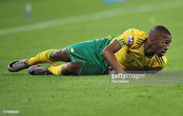 Bernard Parker of South Africa looks up as he lies on the ground during the 2010 FIFA World Cup South Africa Group A match between South Africa and...