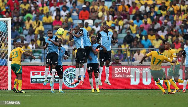 Bernard Parker of South Africa scores a goal from a free kick during the 2014 FIFA World Cup Qualifier match between South Africa and Botswana from...