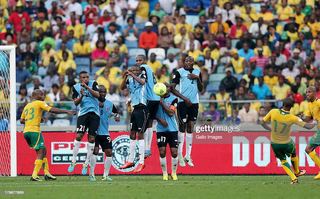 <a gi-track='captionPersonalityLinkClicked' href=/galleries/search?phrase=Bernard+Parker&family=editorial&specificpeople=1003236 ng-click='$event.stopPropagation()'>Bernard Parker</a> of South Africa scores a goal from a free kick during the 2014 FIFA World Cup Qualifier match between South Africa and Botswana from Moses Mabhida Stadium on September 07, 2013 in Durban, South Africa.