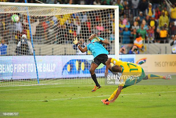 Bernard Parker of South Africa scores during the FIFA 2014 World Cup Qualifier match between South Africa and Central African Republic at Cape Town...