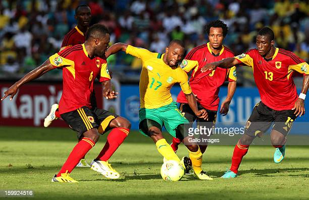 Bernard Parker of South Africa takes on the Angolan defence during the 2013 African Cup of Nations match between South Africa and Angola from Moses...