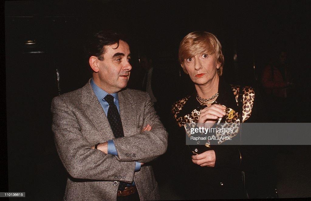 Bernard Pivot's TV broadcast Apostrophes in Paris France on December 13 1985 Bernard Pivot and Francoise Sagan